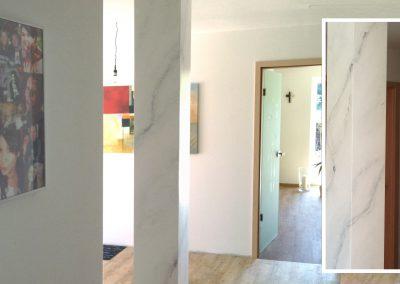 Säule Illusionsmarmor, Einfamilienhaus Oberambach